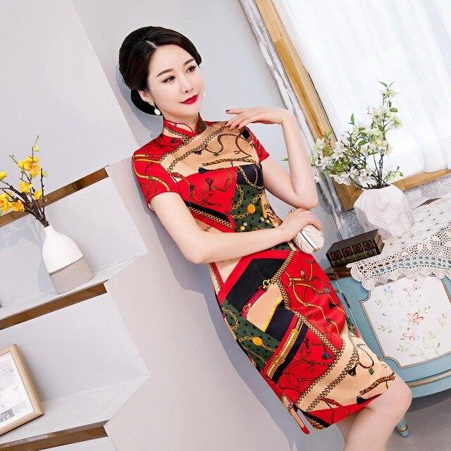 2020 fabricantes de venta de vestido qipao de seda corta joven de moda mejoras diarias de un péndulo cultivar la moralidad