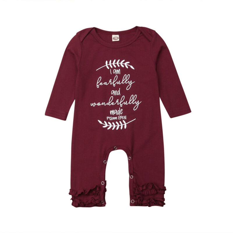 2019 New Winter Fall Baby Girls   Rompers   Ruffled Boutique Letter Print Pajamas Floral Outfit Christmas Toddler Baby Costume
