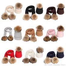 Hat Beanie Long-Scarf-Set Baby Winter Children Warm A07-21 2pcs Pom-Pom-Cap Fake-Fur-Ball