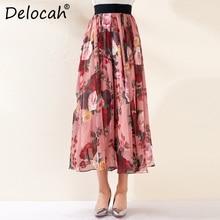 Delocah 2019 Autumn Winter New Women Skirt Runway Fashion Designer Flower Printed Elegant Slim A-Line Chiffon Ladys Wild
