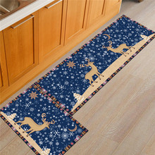 Vintage Style Entrance Indoor Floor Mat Anti-slip Flannle Deer Long Rugs Bathroom Badsider Area Christmas Kitchen Carpet