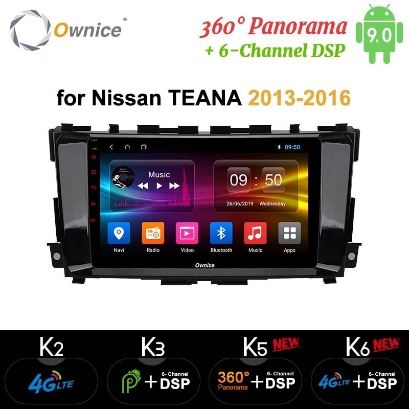 Ownice Android 9.0 4G LTE SPDIF K3 K5 K6 autoradio GPS Octa Core pour Nissan Teana Altima 2013-2016 Navi DVD 360 Panorama DSP