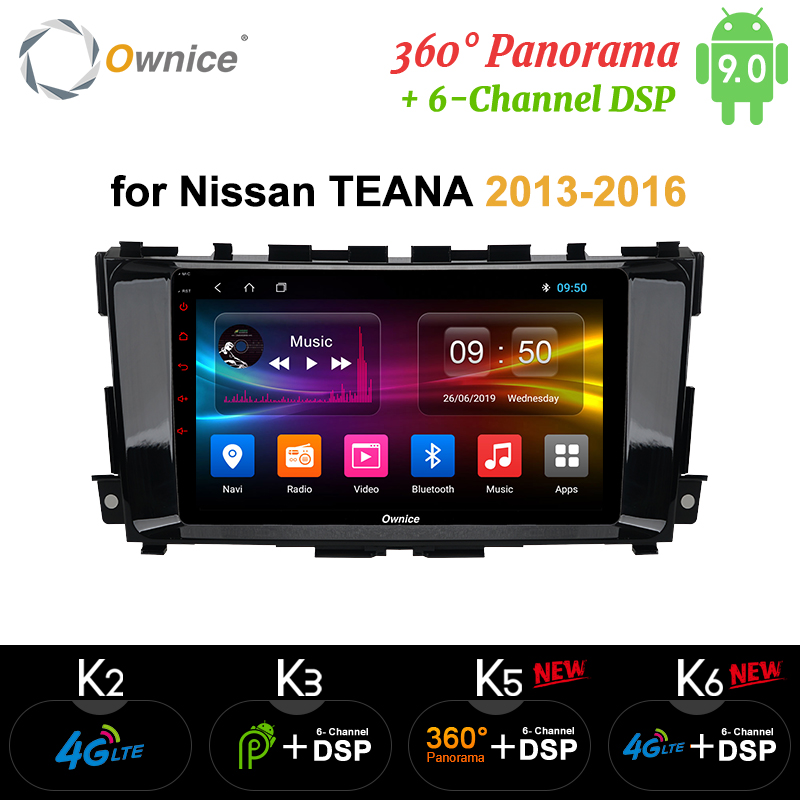 Ownice Android 9.0 4G LTE SPDIF K3 K5 K6 autoradio GPS Octa Core pour Nissan Teana Altima 2013-2016 Navi DVD 360 Panorama DSP