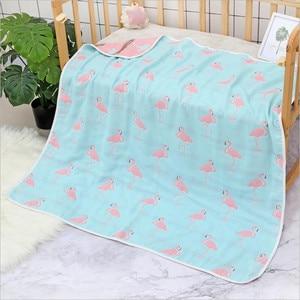 Image 3 - Cobertor do bebê 110x110 cm musselina algodão 6 camadas grosso recém nascido swaddling outono bebê swaddle cama dos desenhos animados recebendo cobertor