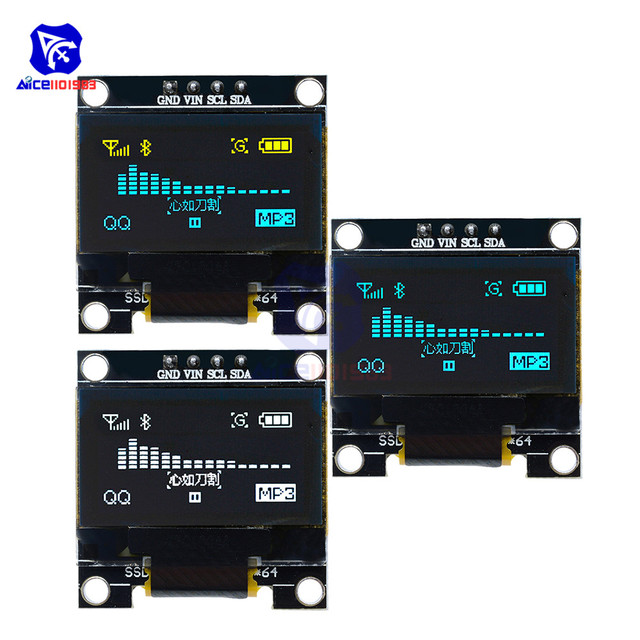 """diymore 0.96"""" 12864 SSD1306 OLED LCD Display Module I2C IIC Serial with Pin for Arduino 51 MSP430 Series STM32/2 CSR IC"""