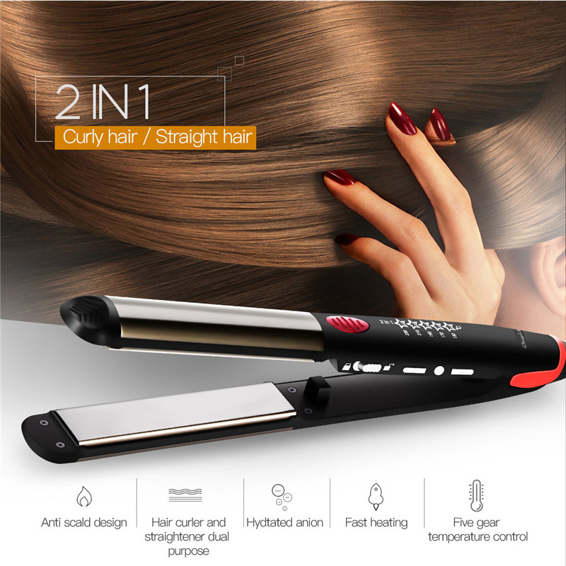 2 In 1 Hair Curler & Hair Straightener Aion Straightening Curling Iron Titanium Flat Irons Hair Styling Tool Dual Voltages 45