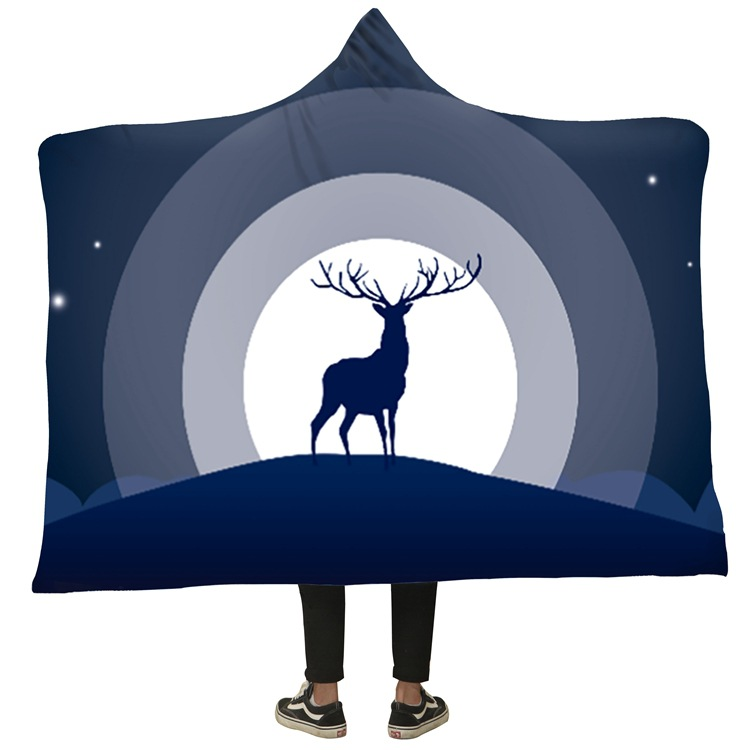 Winter Blanket Sweatshirt Unicorn Cartoon 3D Printed Plush Hooded Blanket for Adults Kid Warm Wearable Fleece Throw Blankets 6