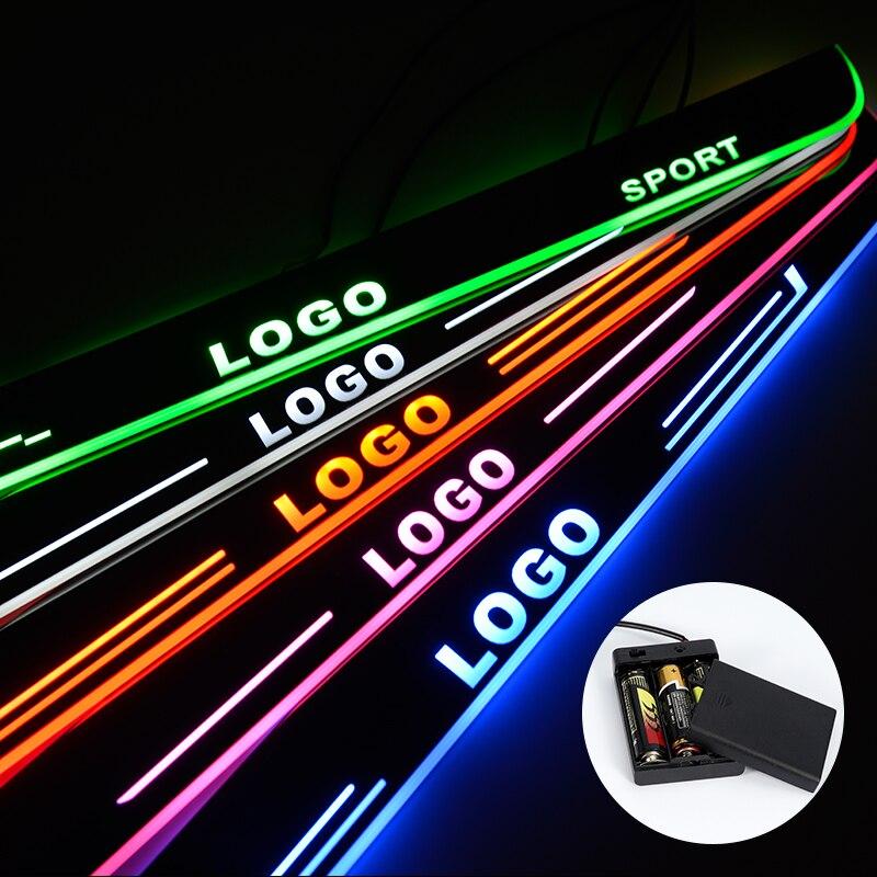Alféizar de la puerta del LED para Toyota Yaris 2017 2018 Placa de rayado de la luz de la batería de acrílico accesorios de los alféizares de la puerta del coche