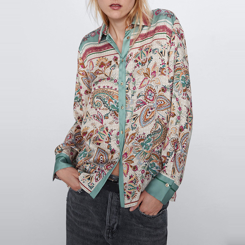 Fashion Vintage Flroal Long Sleeve Blouse Contrast Color Turn Down Collar Casual Loose Shirts Ladies Spring Tops WB2029