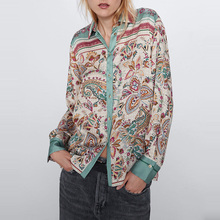 Fashion Vintage Flroal Long Sleeve Blouse Contrast Color Turn Down Collar Casual Loose Shir