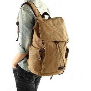 Image 1 - Men backpack leisure shouldertravel Retro canvas backpacks mens bags student school bag computer bags