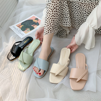 Chic Solid Color Slippers Summer Ladies Mules Fashion Slip-on Flat Flip Flops Ladies Office Shoes Slides Woman Slipper moxxy summer retro leather slippers women printing mules loafers slip on flat sandals black ladies shoes woman zapatos m