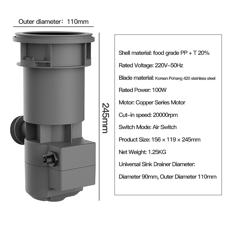 20000R/M мусорный Комбайн кухонный домашний полностью автоматический мокрый высокоскоростной дренаж из нержавеющей стали измельчитель мусора 6