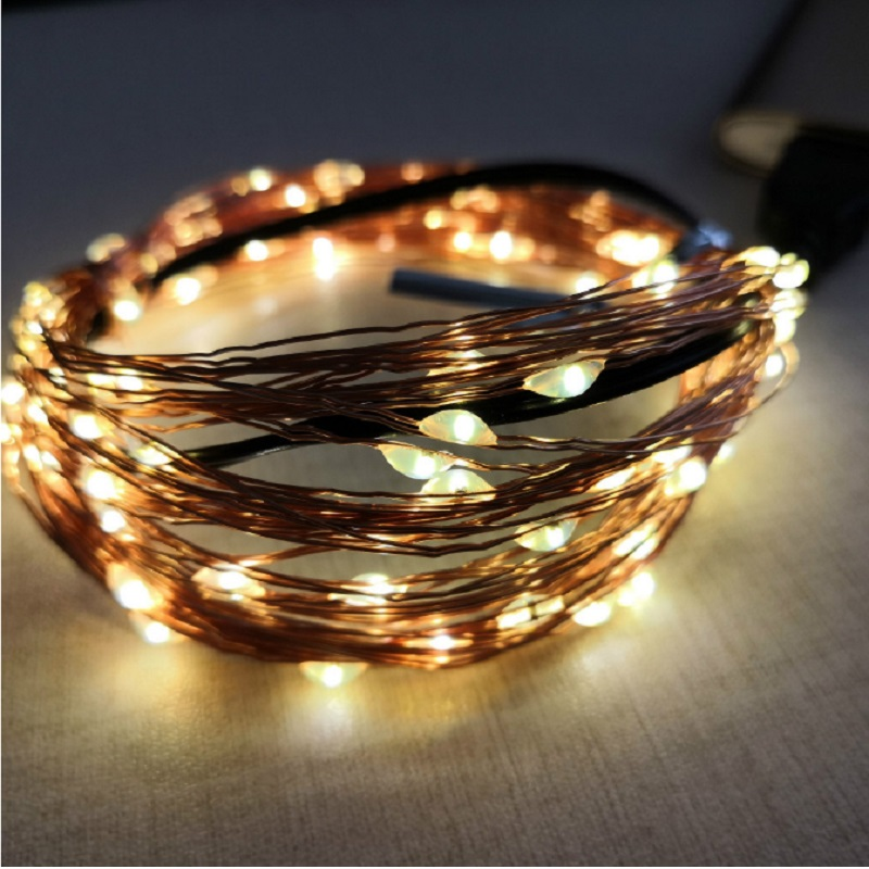 USB LED 5M 10M Lamp Garland Copper Wire Flexible Lamp Festive Christmas Decoration Light String Bookcase Decoration Light