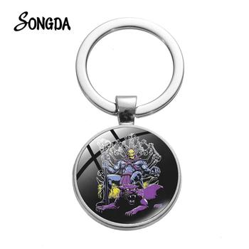 He-Man Skeletor Skull Printed Keychain Masters Of The Universe Cartoon Pattern Glass Dome Metal Key Rings Halloween Gift image