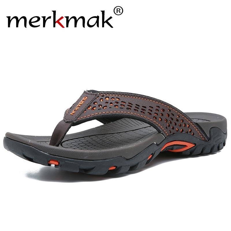 Brand PU Leather Summer Men Slippers Beach Sandals Comfort Men Casual Shoes Fashion Men Flip Flops Hot Sell Footwear 2019