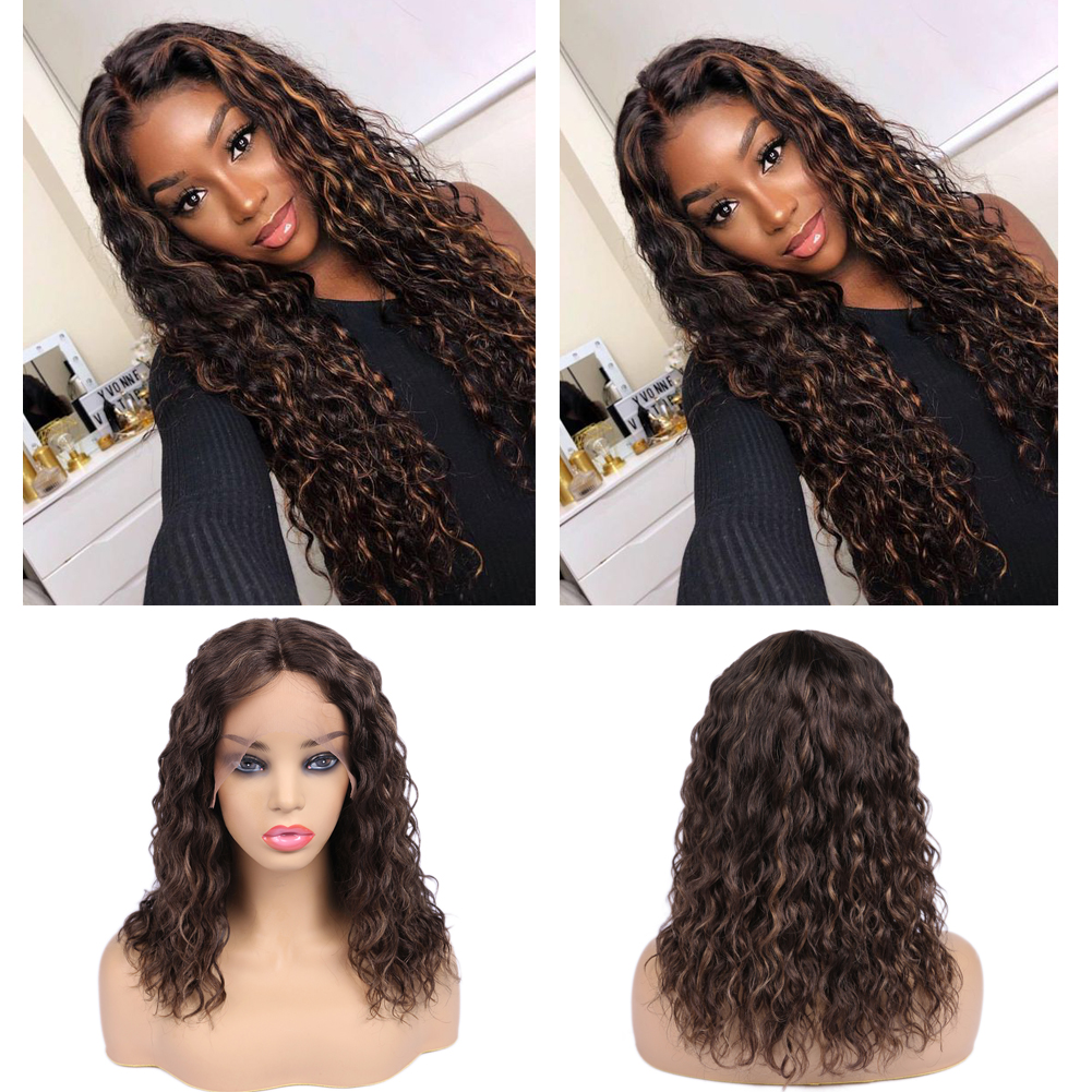 Wignee Lace Part Human Hair Wigs For Black Women PrePlucked Hairline Mixed Brown Curly Hair Remy Brazilian Swiss Lace Human Wig