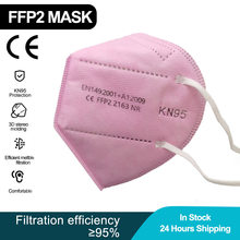100 peças rosa ffp2 mascarillas kn95 máscaras ffp2mask ce máscara para as mulheres homens respiratórios poeira fpp2 máscara ffpp2 rosto máscaras ffp2 ce