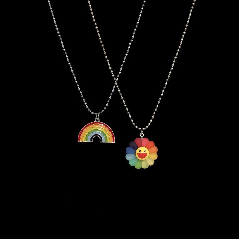 Cute Minimalist Hip Hop Sun Flower Sunflower Colorful Petals Rainbow Pendant Necklace Rock Personality Punk  Jewelry Unisex