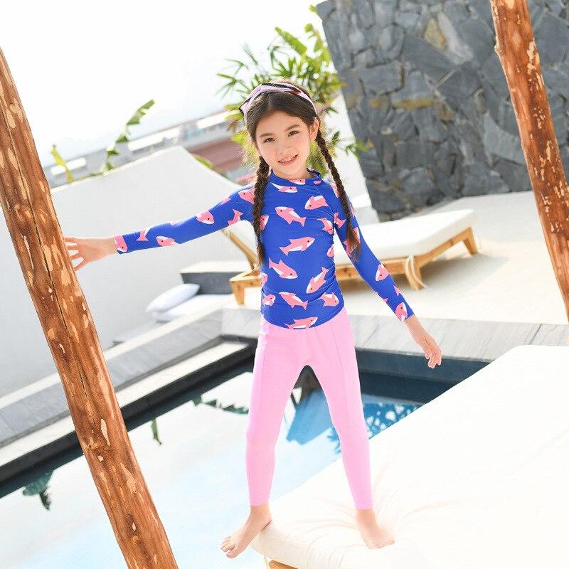 2019 New Style KID'S Swimwear Split Type Long Sleeve Sun-resistant Digital Printing Girls Big Boy Swimwear A Generation Of Fat
