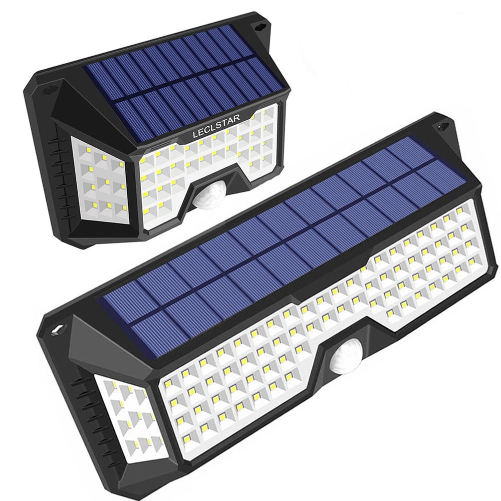 Newest 4 Side 66/136 LED Solar Power Street Light Outdoor Waterproof LED Solar Lamp Motion Sensor PIR Security Garden Wall Light