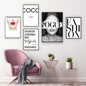 Arte de parede decoração para casa, arte da moda coco hd, lábios, imagem modular, posteres, meninas, pintura nórdica para o quarto