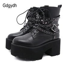 Gdgydh 2021 Gothic Black Ankle Boots For Women Plus High Heel Female Shoes Lace-Up Nigh Club Black Sexy Rivets Chain Short Boots