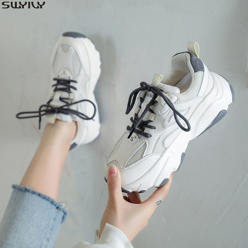 SWYIVY Mesh Chunky Sneakers Women Med Heel Solid Women White Sneakers 2020 Spring New Thick Bottom Casual Shoes Women Fashion 43