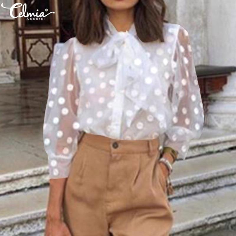 Celmia Women Embroidery Mesh See-through Top Summer Shirt Fashion White Blouse 3/4 Sleeve Bow Polka Dot Blusas Mujer Plus Size