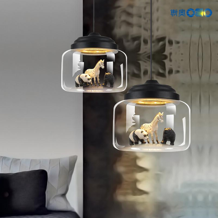 Pendant Lights Sitting Room Animal Model Transparent Glass Pendant Lamps Creative Personality Cafe Bedroom Glass Pendant Lamp