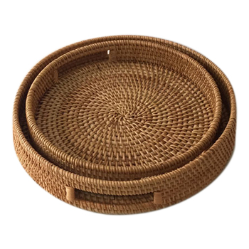 Rattan Hand Woven Round High Wall Severing Tray Food Storage Platters Plate Over Handles for Breakfast Drinks Snack
