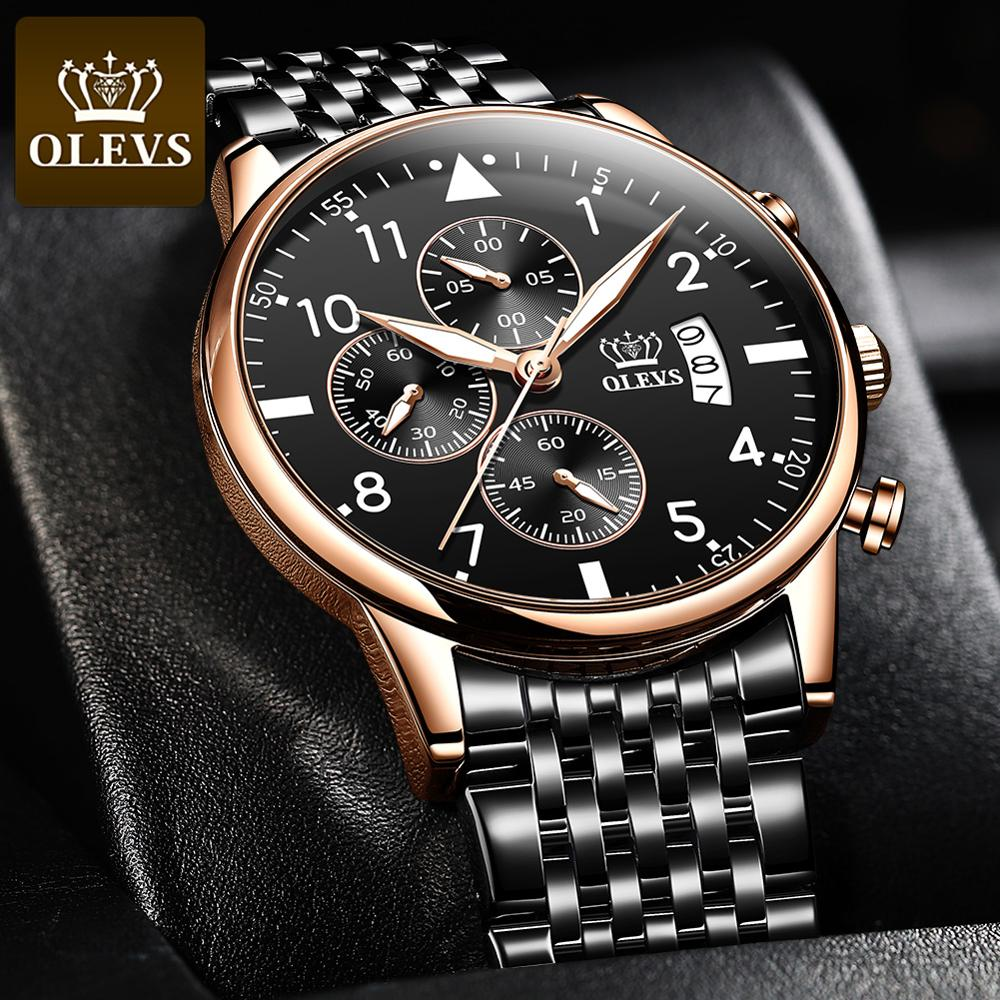 OLEVS Top Original Men's Watch Fashion Waterproof Watch For Men Multifunctional Chronograph Sports Digital Watch Luminous