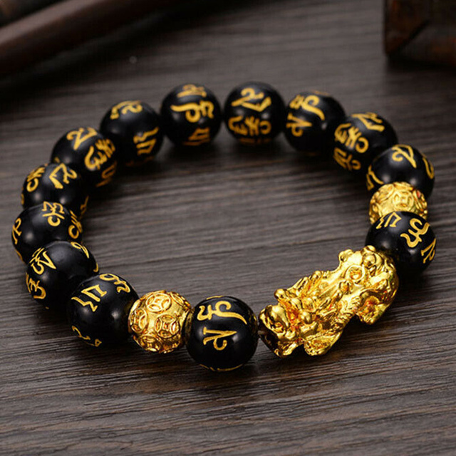 Feng Shui Obsidian Stone Beads Bracelet Men Women Unisex Wristband Gold Black Pixiu Wealth and Good Luck Women Bracelet