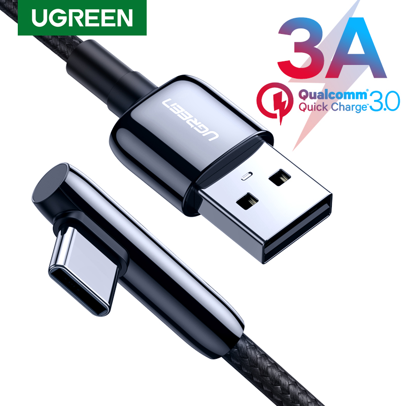 Ugreen USB C Cable 90 Degree USB Type C to USB A Fast Charger Data Cable for Samsung S9 S8 Note 9 Mobile Phone Charging USB Cord|Mobile Phone Cables|   - AliExpress