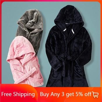Kids Pajamas Bathrobe for Boys Girls Sleepwear Robe Soft Flannel Hooded Bathgown Winter Warm Nightwear Solid Color Baby Clothes 1