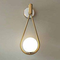 Nordic marble golden wall lamp white glass shade bedroom Bedside Restaurant Aisle Wall Sconce bathroom indoor lighting fixtures