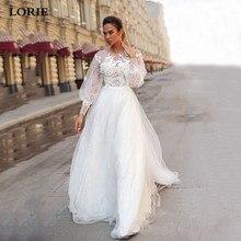 Лори-line кружева Принцесса свадебное платье Puff рукава тюль бохо платья vestido де novia партии