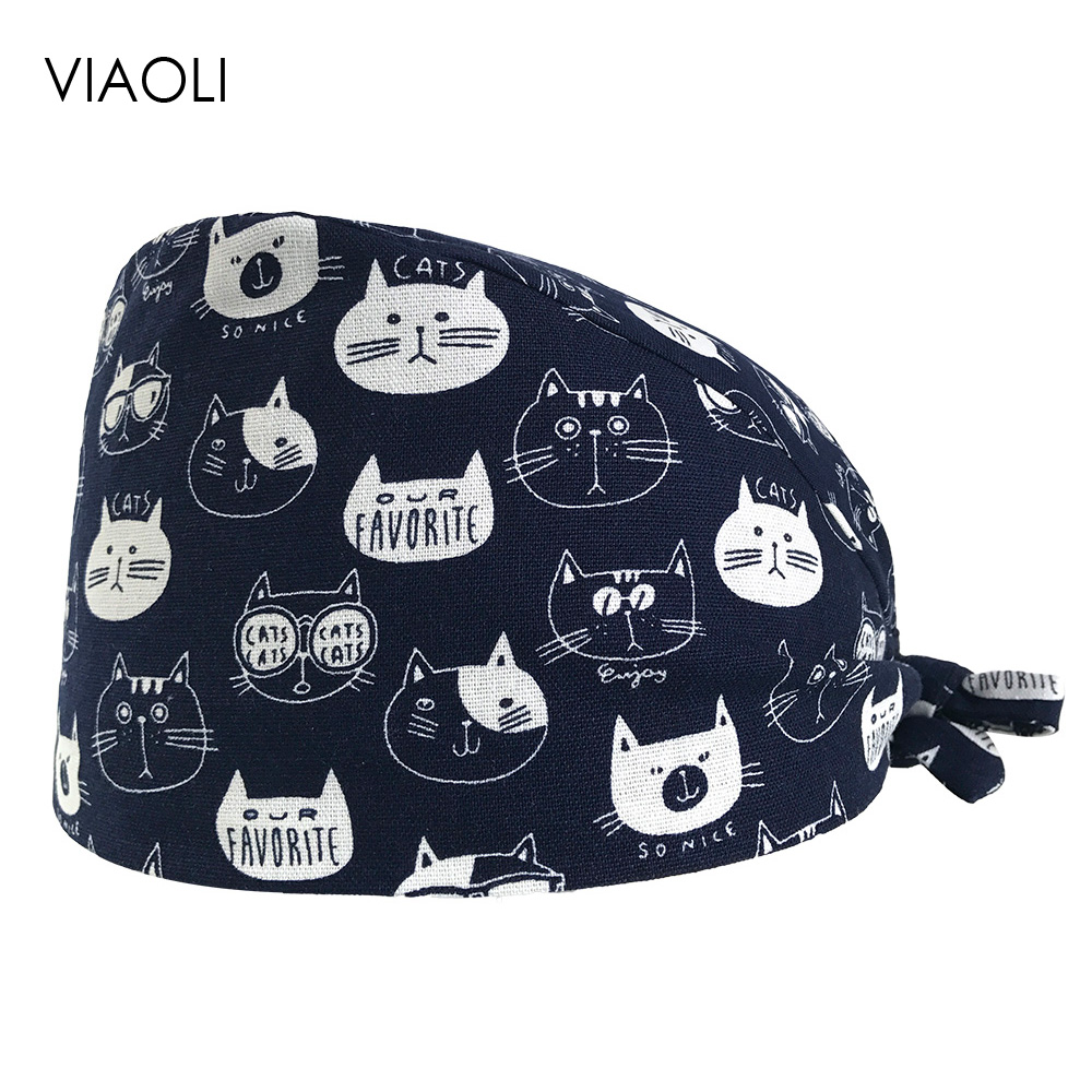VIAOLI Print Black Tieback Elastic Section 100% Cotton Surgical Caps Scrub Caps For Men Women Hospital Medical Hats Arrival 027
