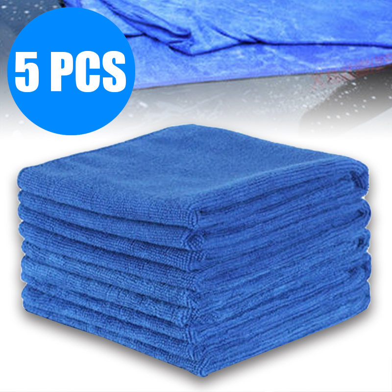 5pcs Car Care Polishing Wash Towels Plush Microfiber Washing Drying Towel Strong Thick Plush Car Cleaning Cloths Blue 30X30CM