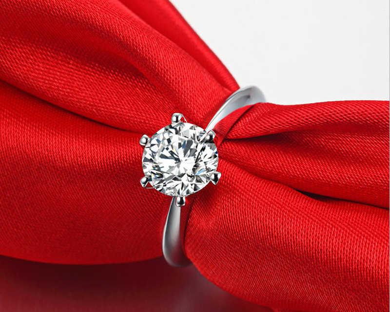 Cổ Điển 6 Móng Vuốt 925 Bạc Cho Nữ, Nhẫn Nữ Tinh Trang Sức 2.0ct Diamant Cưới Cô Dâu Đính Phụ Kiện BIJOUX Thả Vận Chuyển