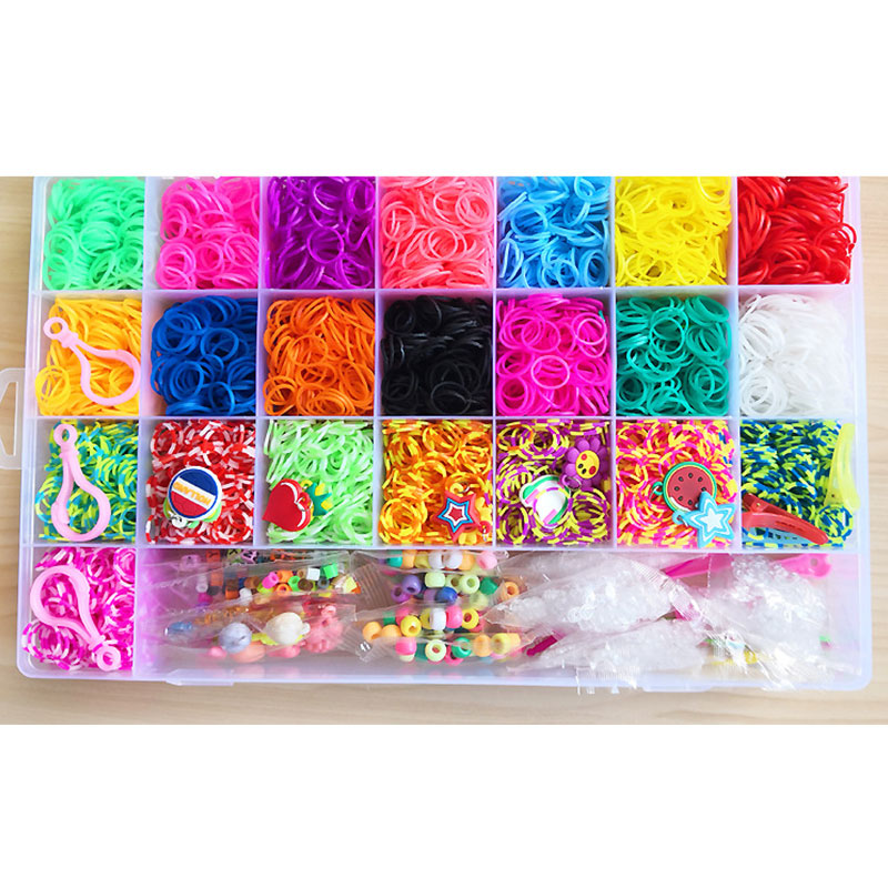 10000pc Rubber Loom Bands Set Box DIY Toys Bracelet Silicone Elastic Bands Rainbow Weave Loom Bands Toy Tool Accessories Case