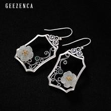 925 Sterling Silver Hetian Jade Plum Blossom Window Drop Earring Original Design Vintage Ethnic Gemstone Earrings Fine Jewelry