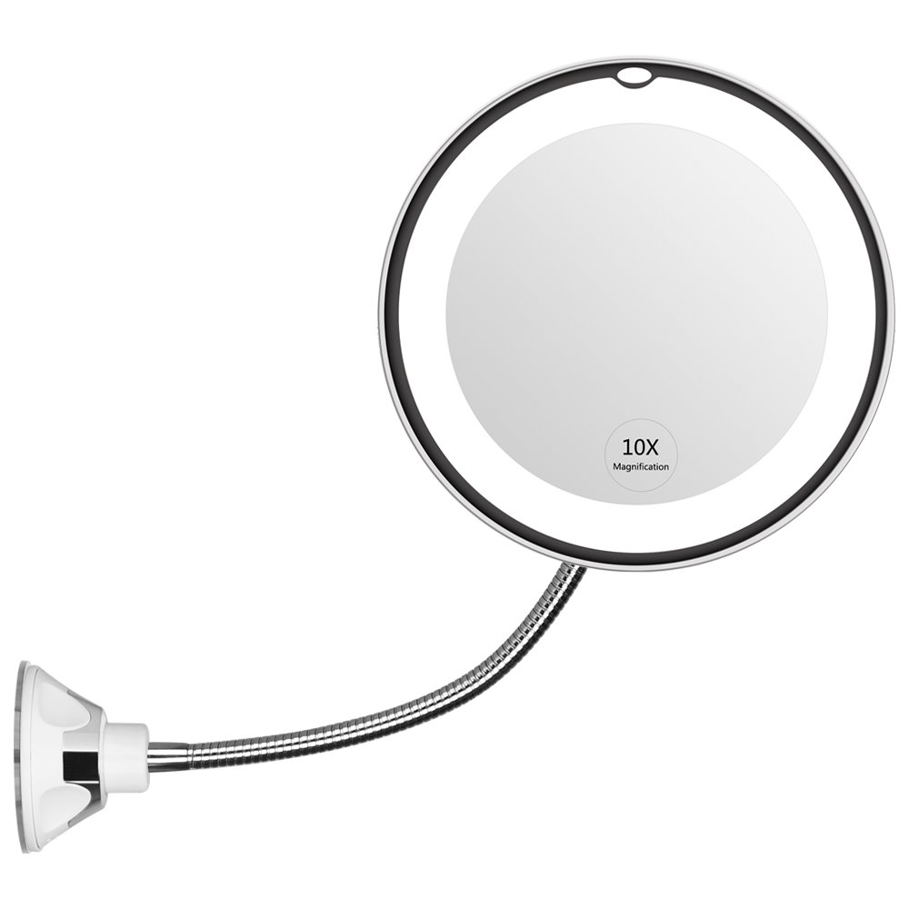 Makeup Mirror 10x Magnifying Vanity Shaving Mirror With LED Light Bathroom Bedroom Lamp Night Light 360 Degree Flexible Lighted