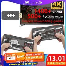 データカエルusbワイヤレスハンドヘルドテレビビデオゲームコンソール1400古典的なゲームで構築4 18k 8ビットミニビデオコンソールサポートhdmi出力