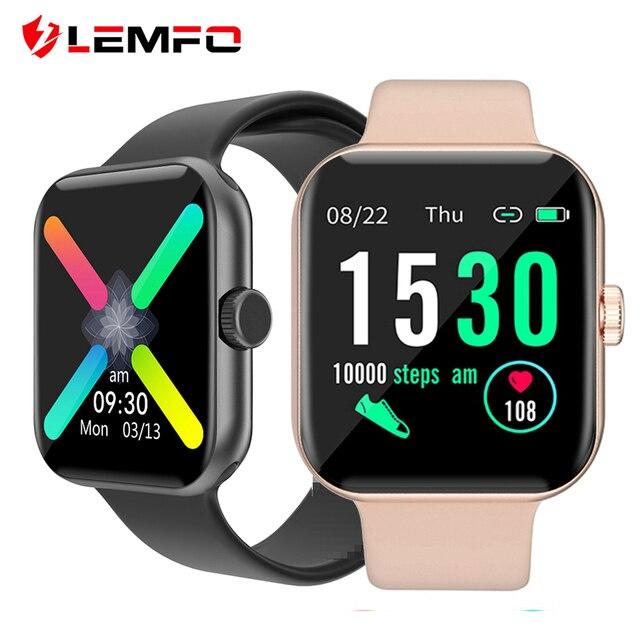 LEMFO 1,54 zoll Full Touch Frauen Smart Uhr 2020 Männer Für Uhr Frauen Sport Modus Physiologischen Erinnerung Smartwatch Männer Frauen