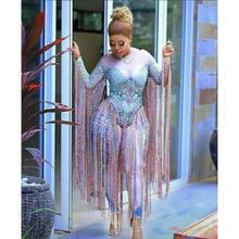 Çok renkli püskül Rhinestones Bodysuit Glisten kristaller tulum seksi uzun kadın gece kulübü kıyafet şarkıcı sahne dans kostümleri