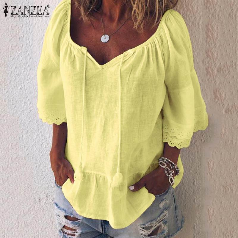 ZANZEA Summer Cotton Linen Shirt Women V Neck Ruffles Sleeve Blouse Female Lace Pacthwork Tunic Tops Hollow Out Blusas Chemise