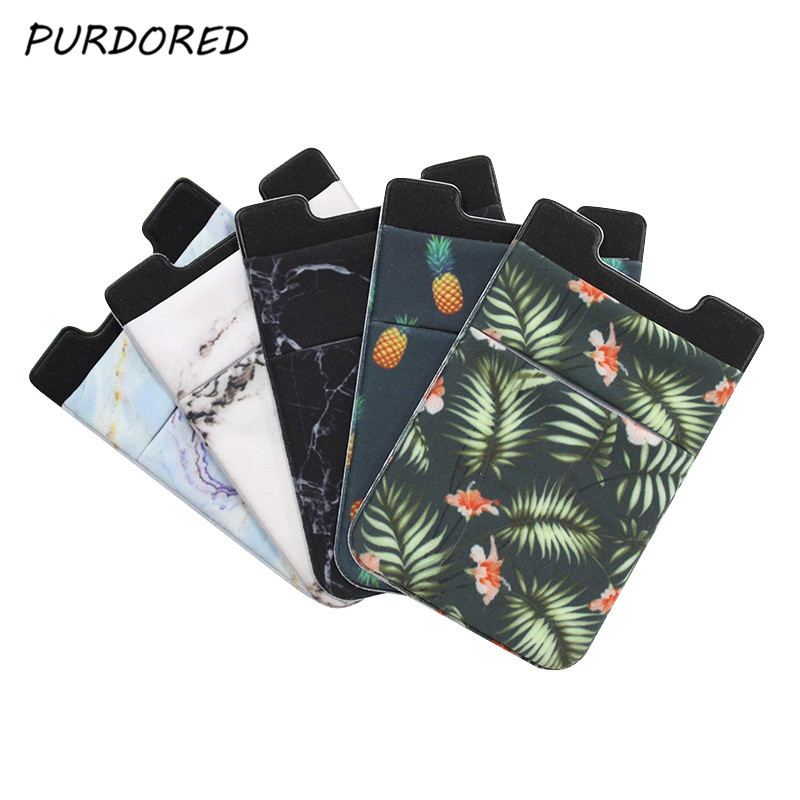 PURDORED 1 Pc Removable Stick-on Cellphone Back Card Holder Marble Pattern Slim Credit Mini Case  Phone Back Card Holder