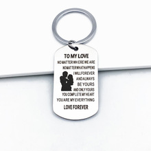 TO MY LOVE NO MATTER WHERE Keychain Stainless Steel Keyring For Couples Jewelry Gift Key Chain