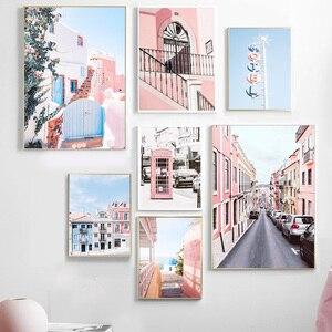 Автомобильная розовая телефонная будка с изображением океана, небольшой городок, настенная живопись на холсте, скандинавские плакаты и при...